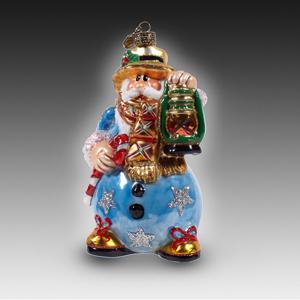 Санта-снеговик голубого цвета с лампой