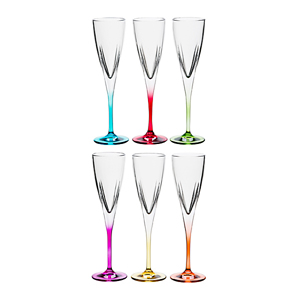"""Набор бокалов для шампанского из 6шт. """"Фьюжн колорс"""" 175 мл."""