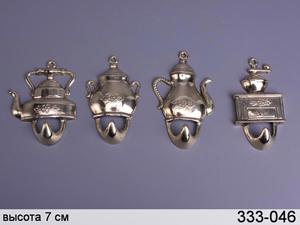 """Набор настенных крючков """"Чайники"""" из 4 шт."""
