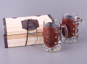"""Набор: шкатулка-пенал """"Баня"""" и 2 пивные кружки (без упаковки)"""