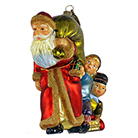 Санта с мешком подарков и дети