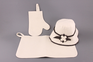 "Набор для бани 3 пр: шапка ""Панама"" коврик+рукавица"