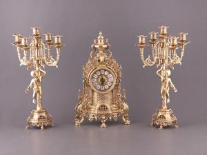 Комплект: часы каминные + 2 подсвечника