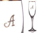 """Бокал для шампанского """"А"""" с золотой каймой"""