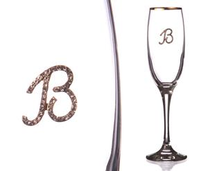 """Бокал для шампанского """"В"""" с золотой каймой"""