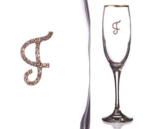 """Бокал для шампанского """"Г"""" с золотой каймой"""