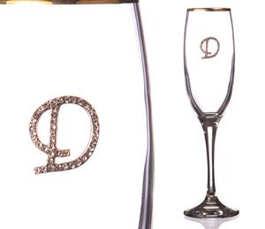 """Бокал для шампанского """"Д"""" с золотой каймой"""