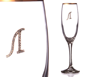 """Бокал для шампанского """"Л"""" с золотой каймой"""