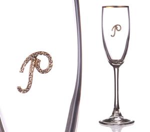 """Бокал для шампанского """"Р"""" с золотой каймой"""