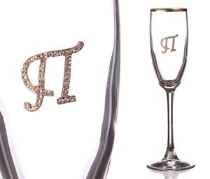 """Бокал для шампанского """"П"""" с золотой каймой"""