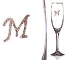 """Бокал для шампанского """"М"""" с золотой каймой"""