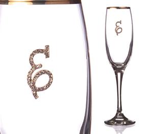 """Бокал для шампанского """"Е"""" с золотой каймой"""