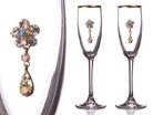 Набор бокалов для шампанского из 2 шт.с золотой каймой