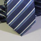 Набор Aristokrat галстук с платком в бело-синюю полоску