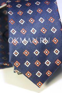 Набор Aristokrat галстук с платком синего цвета с ромбами бело-оранжевого цвета