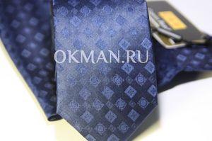 Набор Aristokrat галстук с платком синего цвета с ромбами разной структуры