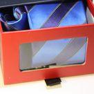 Набор Aristokrat галстук с платком с косыми голубыми и синими линиями