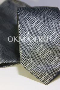 Набор Aristokrat галстук с платком серого цвета с квадратным рисунком различной структуры