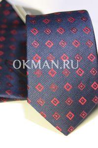 Набор Aristokrat галстук с платком синего цвета с красными ромбами