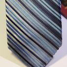 Галстук мужской серого цвета в голубую и синюю полоску