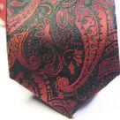 Галстук мужской черного цвета с бордовым орнаметом