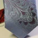 Галстук мужской лазурного цвета с цветочным структурным рисунком
