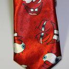 Галстук мужской красного цвета с изображением Губки-Бобба Квадратные Штаны